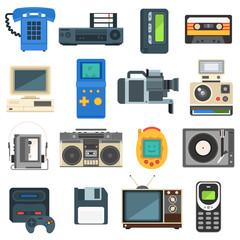 Vintage technologies camera phone retro audio icon vector set.
