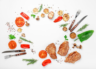 Aluminium Prints Grill / Barbecue Frame of different food grilled on a white background