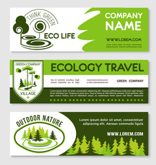 Eco tourism and green travel banner template set