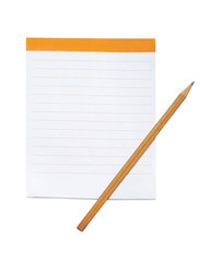 Blank notepad with brown pencil