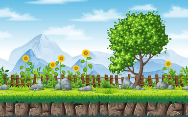 Wall Mural - Seamless summer nature background. Vector illustration with separate layers.