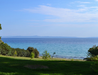 Sea view with a green lawn. Greece. Kassandra. Halkidiki