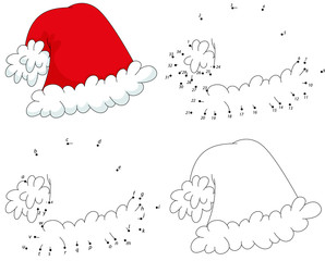 Christmas cartoon hat. Coloring book and dot to dot game for kid