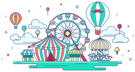 Flat line amusement park or theme park graphic design in creativ