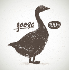 Vector silhouette of the goose, with the inscription, hand drawn illustration.
