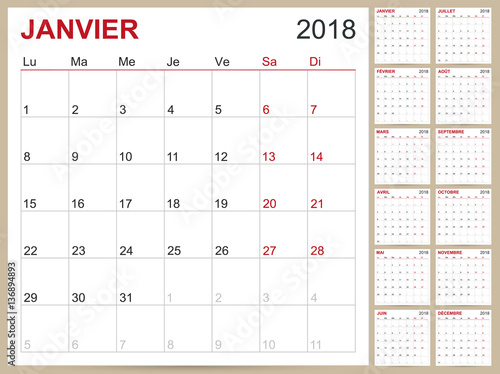 Calendar 2018 French Calendar Template For Year 2018 Set Of 12