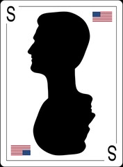 Edward Snowden asylum in Russia is on the playing card. silhouette profile.