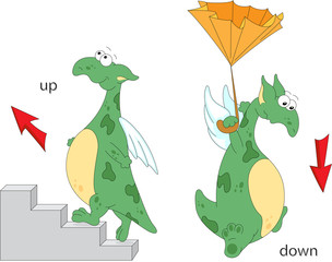 Cartoon dragon goes up the stairs and flies down with an umbrell