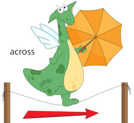 Cartoon dragon goes across the the rope. English grammar in pict