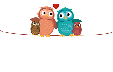 Lovely couple sitting owl on the rope with children owlet. Family
