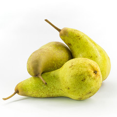 Three Abate Fetel pears isolated on white background.
