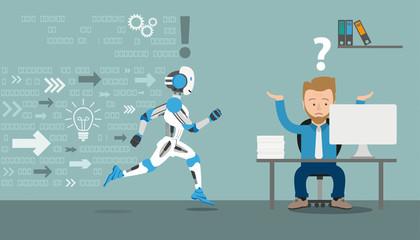 Cartoon Businessman Running Robot Data Office
