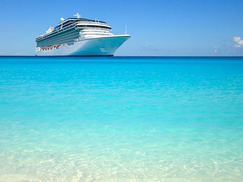 Cruise liner on beautiful Caribbean Ocean.