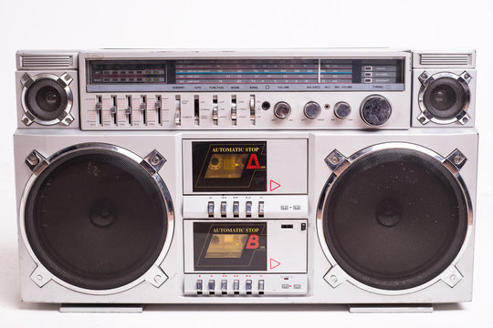 Front View of a Vintage Boom Box Cassette Tape Player Isolated on White Background