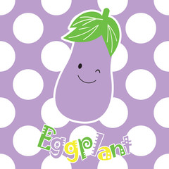 Baby shower illustration with cute eggplant on polka dot background suitable for kid wallpaper, nursery wall and postcard