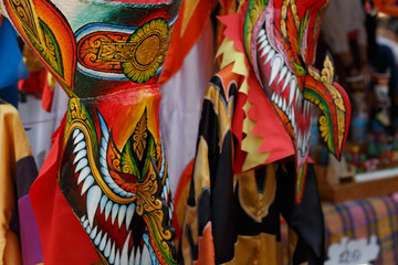 Ghost mask and costume colorful Festival Phi Ta Khon festival at