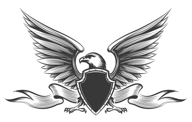 Engraving old painting american bald eagle with wings, shield and ribbon mascot vector isolated on white background