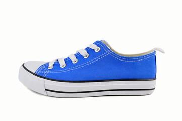 profile of a blue sneaker