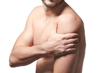 Man with shoulder pain on white background