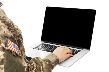 Female soldier with laptop on white background, closeup