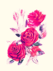 Red roses - watercolor painting on beige background