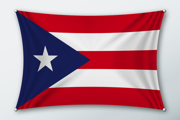 Puerto rico national flag. Symbol of the country on a stretched fabric with waves attached with pins. Realistic vector illustration.