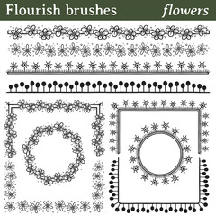 Flourish brushes, flowers. You can draw any line or path and apply a brush. Also, you can make frames with different shapes (round, square,...) because all brushes include outer and inner corner tiles