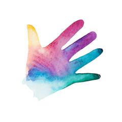 watercolor silhouette of children's hand