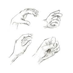 set of human hands sketch