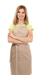 Beautiful woman in beige apron isolated on white background