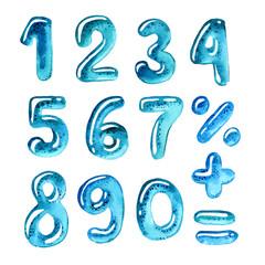 Watercolor numbers like blue drop of water