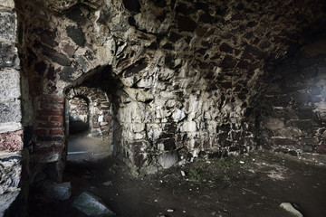Dungeons and tunnels in Suomenlinna fortress in Helsinki, Finland