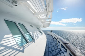 Seascape from the deck of a passenger ship on a beautiful sunny summer day