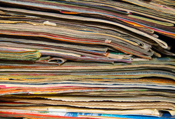 Stack of old journals for background