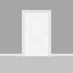 Closed white entrance