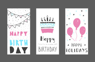 Set of birthday greeting cards design. Colour