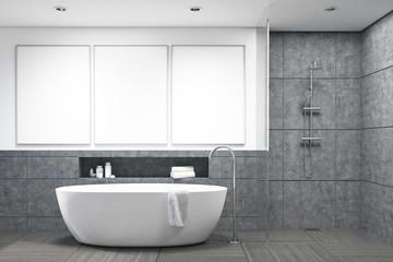 Bathroom with dark gray tiles, gallery