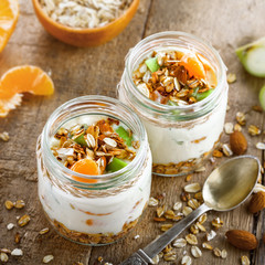 Healthy meal made of granola, yogurt and fruits. Delicious food for breakfast. Traditional American snack. Top view.