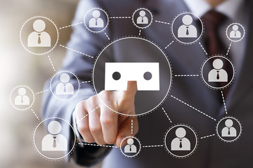 Businessman pressing button virtual reality network vr icon