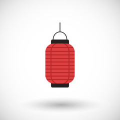Red Chinese lantern flat vector icon