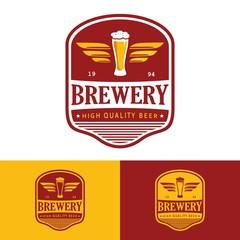 Beer brewery retro label logo illustration