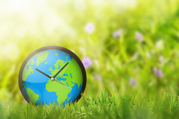 Clock of earth in the field