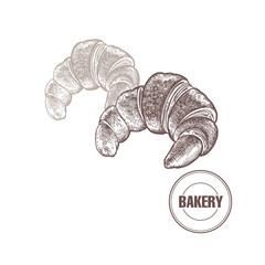 Croissant vintage graphics.