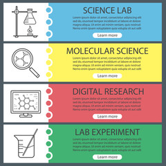 Science laboratory banner templates set