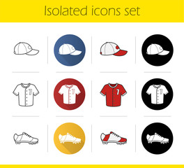 Baseball player's uniform icons set