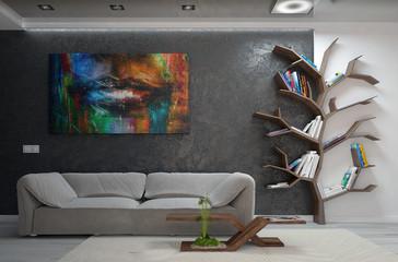 Modern living room interior design, 3d render