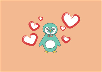 pretty little blue penguin and hearts
