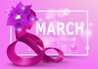 8 March Women's Day pink banner with silk eight shaped curly ribbon and frame. Vector illustration