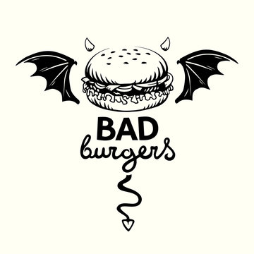 Graphic illustration of evil hamburger with bat wings, devil horns and tail and lettering in vector on white background.