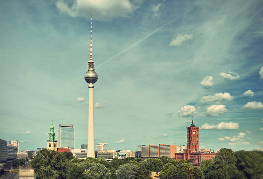 View over the Alexanderplatz in Berlin Mitte, Berlin, Germany, Europe, vintage style